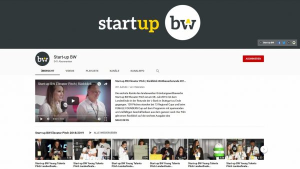 Start-up BW Elevator Pitch 2017, 2018, 2019, 2020